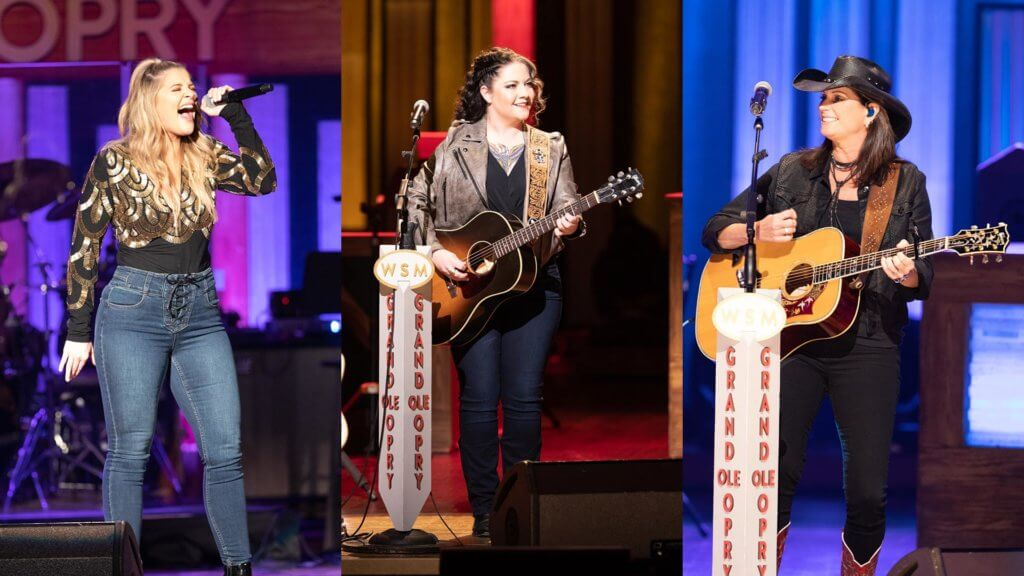 Lauren Alaina, Ashley McBryde and Terri Clark performing live at the Opry