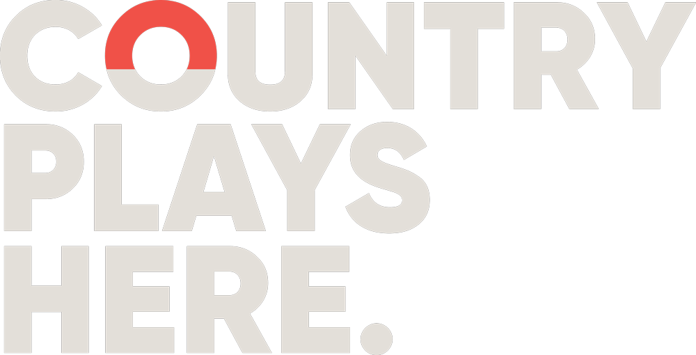 Country plays here tagline logo in gray
